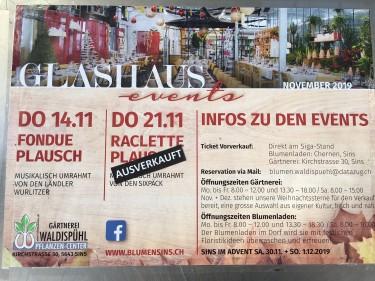 Glashaus-Events Herbst 2019:  Willkommen im Fondue-Plausch