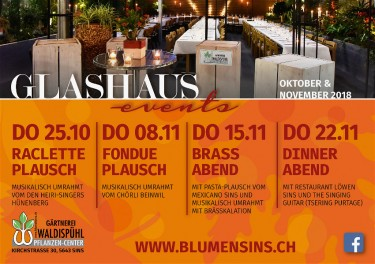 Glashaus-Events Herbst 2018